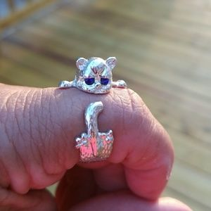 Jewelry - 💍🐱SILVER CAT ADJUSTABLE RING WITH BLUE EYES 💍🐱